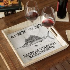 Custom Coordinates Sailfish Serving Tray - White
