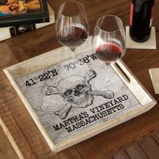 Custom Coordinates Skull & Crossbones Serving Tray - White Vintage Chart