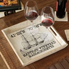 Custom Coordinates Vintage Ship Serving Tray