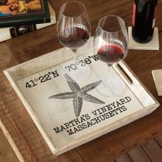 Custom Coordinates Vintage Starfish Serving Tray