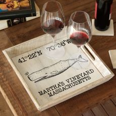 Custom Coordinates Vintage Whale Serving Tray