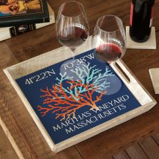 Custom Coordinates Coral Duo Serving Tray - Blue