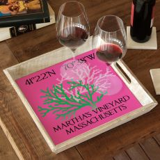 Custom Coordinates Coral Duo Serving Tray - Pink