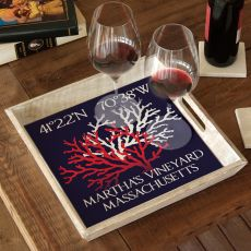 Custom Coordinates Coral Duo Serving Tray - Navy