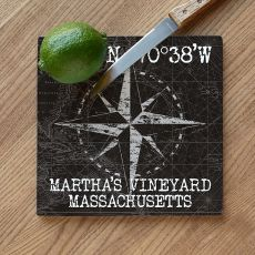 Custom Coordinates Compass Rose Cutting Board - Black Vintage Chart