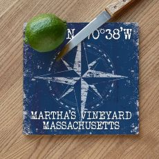 Custom Coordinates Compass Rose Cutting Board - Navy