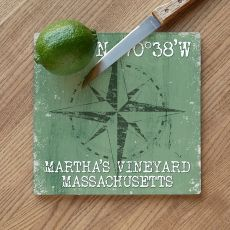 Custom Coordinates Compass Rose Cutting Board - Nile Green