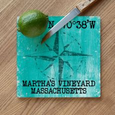 Custom Coordinates Compass Rose Cutting Board - Sea Green