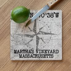 Custom Coordinates Compass Rose Cutting Board - White Vintage Chart