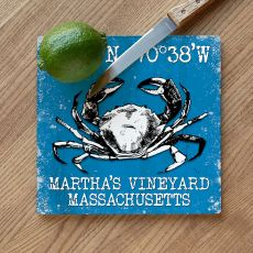 Custom Coordinates Crab Cutting Board - Blue