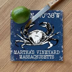 Custom Coordinates Crab Cutting Board - Navy