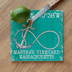 Custom Coordinates Infinity Anchor Cutting Board - Aqua