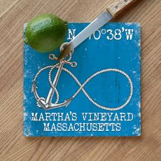 Custom Coordinates Infinity Anchor Cutting Board - Blue