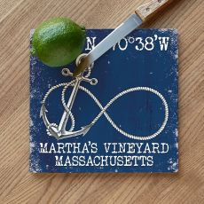 Custom Coordinates Infinity Anchor Cutting Board - Navy