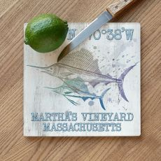 Custom Coordinates Sailfish Cutting Board - Duo on White