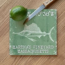 Custom Coordinates Sailfish Cutting Board - Nile Green