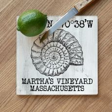 Custom Coordinates Vintage Shell Cutting Board