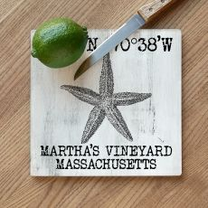 Custom Coordinates Vintage Starfish Cutting Board