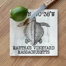 Custom Coordinates Vintage Sea Turtle Cutting Board