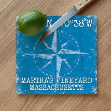 Custom Coordinates Compass Rose Cutting Board - Blue