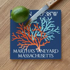 Custom Coordinates Coral Duo Cutting Board - Blue