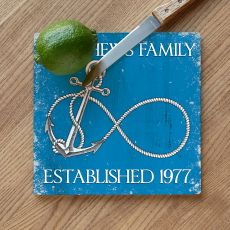 Custom Wedding Infinity Anchor Cutting Board - Blue