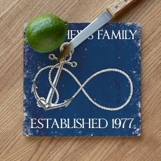 Custom Wedding Infinity Anchor Cutting Board - Navy