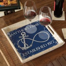 Custom Wedding Infinity Anchor Serving Tray - Navy