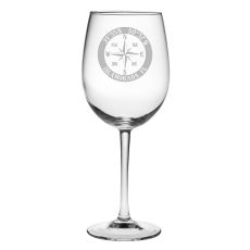 Custom Coordinates Compass Rose All Purpose Wine Glasses S/4