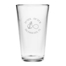 Custom Coordinates Infinity Anchor Pint Glasses S/4