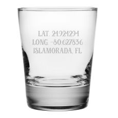 Custom Latitude Longitude Double Old Fashioned Glasses S/4