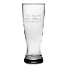 Custom Latitude Longitude Grand Pilsner Glasses S/4