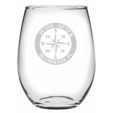 Custom Coordinates Compass Rose Stemless Wine Glasses S/4