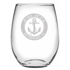 Custom Coordinates Anchor Stemless Wine Glasses S/4