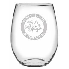 Custom Coordinates Coral Stemless Wine Glasses S/4
