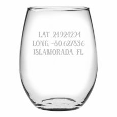 Custom Latitude Longitude Stemless Wine Glasses S/4