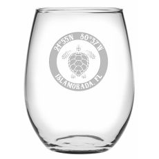 Custom Coordinates Sea Turtle Stemless Wine Glasses S/4