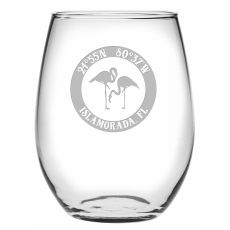 Custom Coordinates Flamingo Stemless Wine Glasses S/4