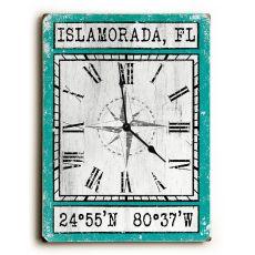 Custom Coordinates Wood Clock - Aqua