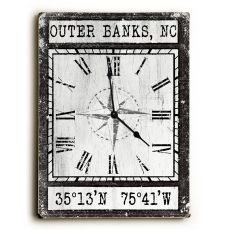 Custom Coordinates Wood Clock - Black Vintage Chart