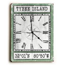 Custom Coordinates Wood Clock - Nile Green