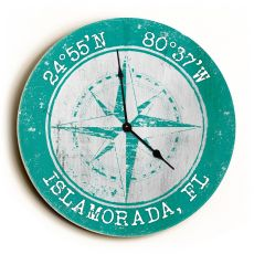 Custom Coordinates Compass Rose Clock - Round Aqua