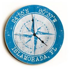 Custom Coordinates Compass Rose Clock - Round Blue