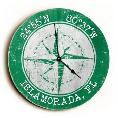 Custom Coordinates Compass Rose Clock - Round Green