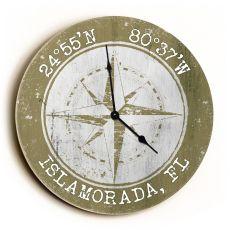Custom Coordinates Compass Rose Clock - Round Khaki