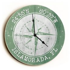 Custom Coordinates Compass Rose Clock - Round Nile Green