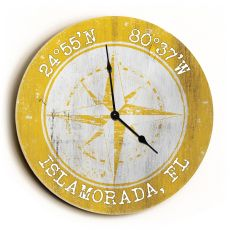 Custom Coordinates Compass Rose Clock - Round Yellow