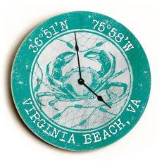 Custom Coordinates Crab Clock - Round Aqua