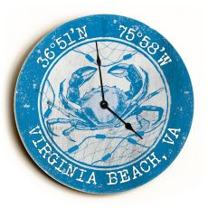 Custom Coordinates Crab Clock - Round Blue