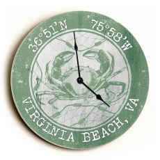 Custom Coordinates Crab Clock - Round Nile Green